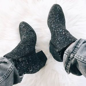 ASH 'Egoiste' Midnight Glitter Block Heel Booties